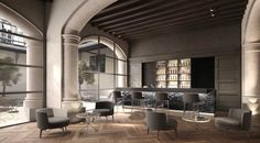 Lobby Bar & Patio | Hotel Interior Inspiration. Luxury Decor. Interior Design. #hotelinterior #interiordesign #upholstery  Read more: https://www.brabbu.com/en/inspiration-and-ideas/world-travel/stylish-modern-sofas-astonishing-restaurant-interiors