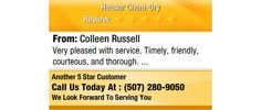 Very pleased with service. Timely, friendly, courteous, and thorough.