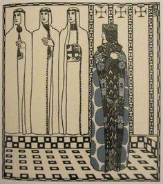 """Carl Otto Czeschka  Ilustración para libro """"Los Nibelungos""""  1909"""