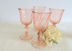 Vintage Set of 4 Rosalind Pink Blush French Arcoroc Wine/Coctail Glasses