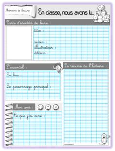 fiche lecture School Organisation, French Worksheets, World Languages, Book Study, Cycle 3, Reading Workshop, Reading Resources, Lectures, Learn French