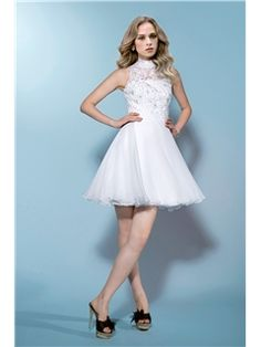 $ 103.99 Beautiful Sleeveless High-Neck Beading Lace Zipper-Up Short/Mini Wedding Dress