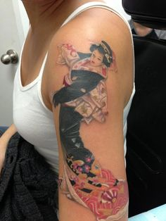 I love my Geisha tattoo. She's so beautiful :) This is the largest piece I have so far and my tattoo artist did a fabulous job! Tattoo work by Matt Mooneyham of Hot Rod Tattoo in Chandler, AZ.
