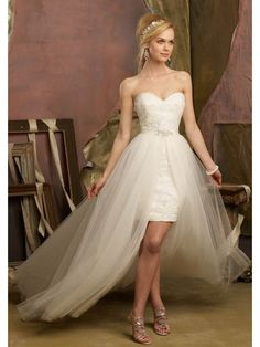 SHORT FRONT LONG BACK SWEETHEART NECK ONE IN TWO WEDDING DRESSES, HIGH LOW TULLE SKIRT WEDDING DRESS