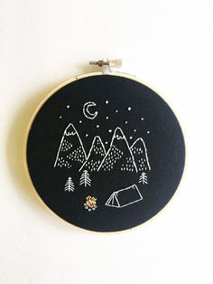 Happy Camper Modern Hand Embroidery Hoop Art in a by earthologie