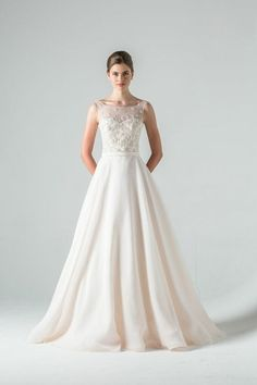 Illusion A-Line Wedding Dress  with Natural Waist in Beaded Embroidery. Bridal Gown Style Number:33261801