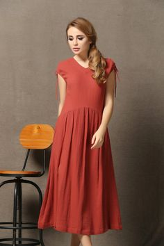 Red Linen Comfortable Everyday Maxi Dress C573 by YL1dress