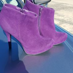 Purple heel booties Like new. Only worn once but very comfortable. Size 7. All manmade materials. Faux suede. So cute! Qupid Shoes Ankle Boots & Booties