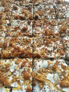 Marshmallow. Anzac biscuit.  Hazelnuts and toffee sauce . Mmmm