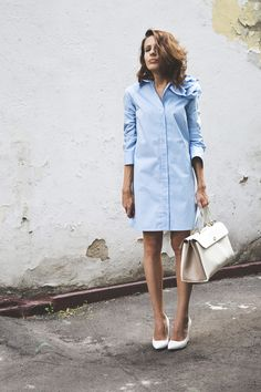 Blue shirt dress with petals | Furla bag | white Mango heels