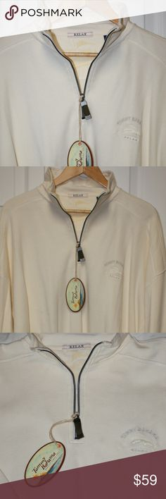 Tommy Bahama Half Zip...NWT Tommy Bahama Half Zip...NWT....smoke/pet free home....shipping within 1 business day....please ask any questions!   Tommy Bahama Half Zip....Brand New w/Tags  100% Cotton  Color: Coconut Cream  Half Zip  Long Sleeve Tommy Bahama Sweaters Zip Up