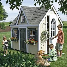 playhouse (another idea for playhouses with a different roof). Still love the adult door and thinking yellow and pink paint!