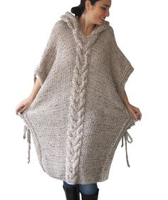 Items similar to Plus Size Maxi Knitting Poncho with Hoodie - Over Size Tweed Beige Cable Knit by Afra on Etsy Crochet Wool, Crochet Poncho, Hand Crochet, Poncho Knitting Patterns, Knit Patterns, Hand Knitting, Tweed, Cardigan Noir, Crochet Shoes Pattern