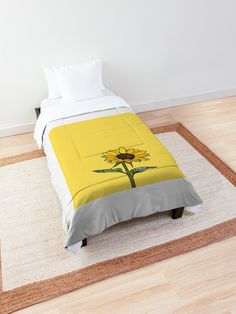 """""""Aesthetic Sunflower"""" Comforter by clothingproject College Schedule, College Dorm Essentials, College Dorm Rooms, Harvard College, Ncaa College, College Football Scores, College Basketball, Basketball Rules, Atlanta Technical College"""