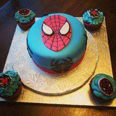 Spiderman birthday cake and cupcakes!