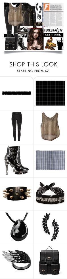 """""""Rocker Style"""" by jeneric2015 ❤ liked on Polyvore featuring Tim Holtz, River Island, Uniqlo, Haute Hippie, HADES, DENY Designs, Fallon, Cristabelle, Sole Society and rockerchic"""