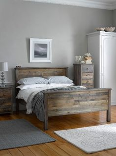 Reclaimed Wood Bedroom Set White Distressed Furniture Sets: Create A Calm Scandi-style Bedroom With The Riverwood Furniture, Home Bedroom, Wood Bedroom Furniture, Home Decor, Wood Bedroom Design, Rustic Bedding, Coastal Bedrooms, Wood Bedroom, Rustic Bedroom