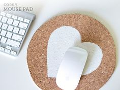 DIY Painted Cork Mouse Pad by Sarah Hearts - Although I don't use a mouse pad, I like the idea.