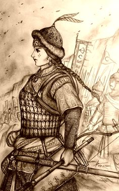 Beylerbegum Ilkay of Orhanli Beylerbeylik by Gambargin (Turkish Woman Warrior) | Compare http://www.pinterest.com/pin/158540849357215372/