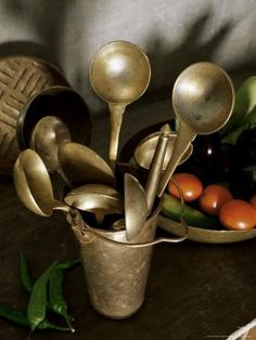 kitchen Utensils Indian - Traditional Brass Kitchen Utensils in a Home, Amber, Near Jaipur, Rajasthan State, IndiaBy John Henry Claude Wilson. Brass Kitchen, Kitchen Dishes, Kitchen Utensils, Kitchen Gadgets, Serving Utensils, Copper Utensils, Kitchen Witch, Cooking Utensils, Cooking Tools