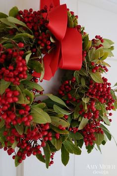 Christmas wreath: lots of red berries- for outdoor display in the cold, artificial berries are best- will not burst in cold weather