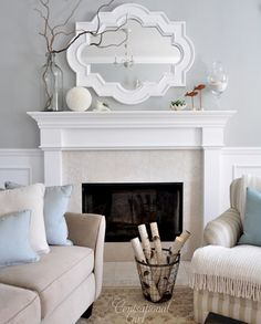 Love the mantel and colors - blue, gray cream, tan c: