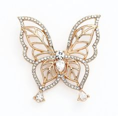 Stunning crystal gold butterfly brooch! Must have for your gold brooch bouquet or as accessory for your gold wedding.