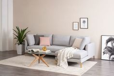 Adams Chaise Sectional Sofa, Dove Grey, Right Facing, Brass Glam Living Room, Classic Living Room, Home And Living, Living Room Decor, Living Rooms, Grey Sectional, Living Room Sectional, Grey Couches, Light Blue Sofa
