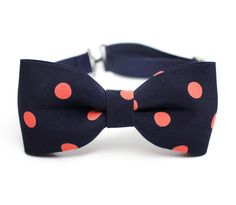 Modern pretied bowtie in coral polka dot navy  by lovelywillow, $12.00