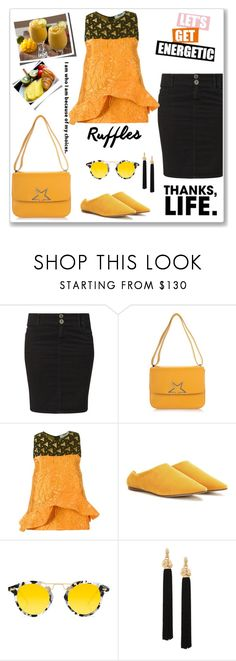 """""""Daywear"""" by hani-bgd ❤ liked on Polyvore featuring Replay, Golden Goose, MSGM, Acne Studios, MANGO, Krewe, Yves Saint Laurent, denim and ruffledtops"""