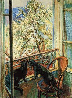 Cats at the window, 1909, Nikolai Tarkhov. Russian (1871 - 1930)