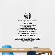 Star Wars Wall Decal Quote Gray Jedi Code Codex Vinyl Sticker Cartoons Boy Kids Wall Art Nursery Decor Mural 261hor *** Check this awesome product by going to the link at the image.Note:It is affiliate link to Amazon. #culturegram