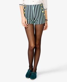 Mint Green AND Striped High Waist Shorts? Can't lose!