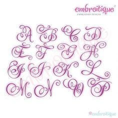 "Embroitique Charming Calligraphy Script Monogram Set - Small 1"", 1.5"", 2"", 2.5"""