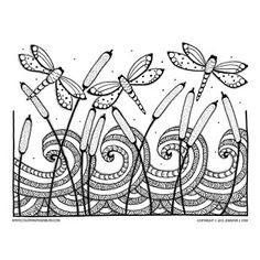 Coloring pages for adults. This Dragonflies and Cattails Nature Coloring Page is hand drawn by Jennifer Stay and is a beautiful example of the downloadable art she creates and provides on her website. Let these lovely dragonflies inspire your creative side and the stylized waves wash away your stress. Coloring these PDF printable coloring pages will help you unplug and relax. Have fun!