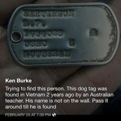 Pass it on.. Martinson,L.P 1984028 - USMC - Lutheran. Dog tag found in Vietnam. Looking for owner.
