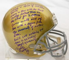 1dbc2c875b2 Rudy Ruettiger Signed Notre Dame Riddell Full-Size Replica Helmet w Five  Foot Nothing