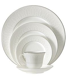 Waterford Ballet Icing Pearl China #Dillards. Five piece place setting $135.