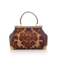 """Sharif """"Versailles"""" Tapestry and Leather Frame Satchel 