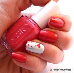 #Essie #watermelon #valentine #nail #nails #nailart #heart #dots #romantic