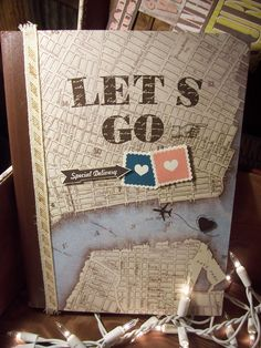 """Let's Go"" Travel Journal using Stampin Up! 'Soho Subway' Designer Series Paper.  Karen Collins, Stampin Up! Demonstrator."
