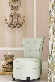 i do not like the chair but the wall paper, sconce and pile of old books is very sweet