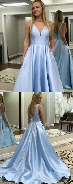 2019 Blue Prom Dresses Long, A-line Formal Evening Dresses with Pockets, V-neck Military Ball Dresses Elegant, Sexy Pageant Graduation Party Dresses Satin #FansFavs #bluedress #dresswithpockets #vneckdress #promdress #2019