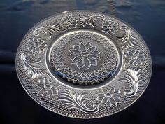 """Tiara Indiana Glass Clear Sandwich 8 1/4"""" Salad Luncheon Plate #IndianaGlass"""