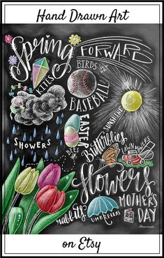 Spring Decor, Spring Sign, Spring Art, Chalkboard Art, Chalk Art, Typography, Spring Subway Art, Spring, Tulips, Word Collage #affiliate