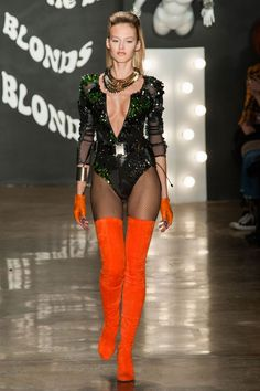 The Blonds At New York Fashion Week Fall 2015 - Dance Leotards Punk Fashion, Runway Fashion, High Fashion, Fashion Show, Fashion Outfits, Womens Fashion, Haute Couture Style, Stage Outfits, Fall Outfits