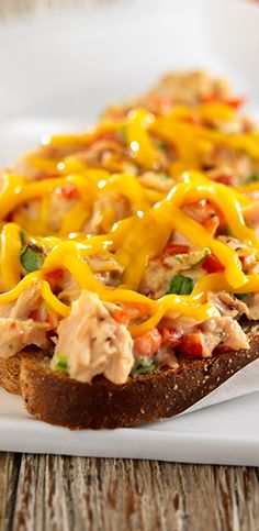 Creamy tuna melt with the fresh flavors of red bell pepper and green onion served open-faced