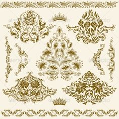 Set of Vector Damask Ornaments #GraphicRiver Set of vintage decorative floral elements, borders, corners, ornaments for design. Page decoration. Vector eps8 illustration is fully editable. Created: 23May13 GraphicsFilesIncluded: JPGImage #VectorEPS Layered: No MinimumAdobeCSVersion: CS Tags: abstract #arabesque #art #background #border #brocade #corner #crown #curl #damask #deco #decorative #design #element #fashion #filigree #floral #flourish #flower #leaf #modern #ornament #paper #pattern…