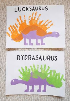 I love doing handprint and footprint art. Neither Lucky nor Ryder are drawing . I love doing handprint and footprint art. Neither Lucky nor Ryder are drawing much more than scribbles yet, so this is . Toddler Arts And Crafts, Baby Crafts, Infant Crafts, Dinosaur Activities, Craft Activities, Dinosaur Theme Preschool, Dinosaur Dinosaur, Dinosaur Birthday, Preschool Crafts