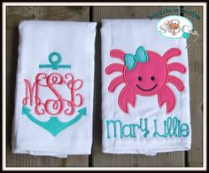 Girl Nautical Themed, Embroidered Custom Personalized Boutique Burp Cloths--Crab and Anchor (Set of 2) on Etsy, $18.00